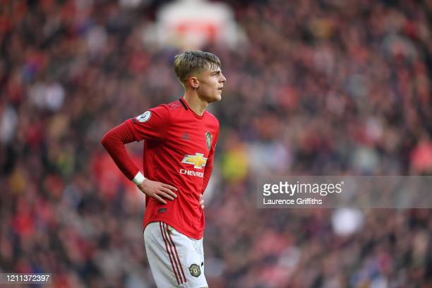 Brandon Williams of Manchester United looks on during the Premier League match between Manchester United and Manchester City at Old Trafford on March...