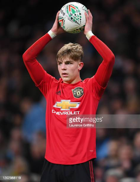 Brandon Williams of Manchester United prepares to take a throw-in during the Carabao Cup Semi Final match between Manchester City and Manchester...
