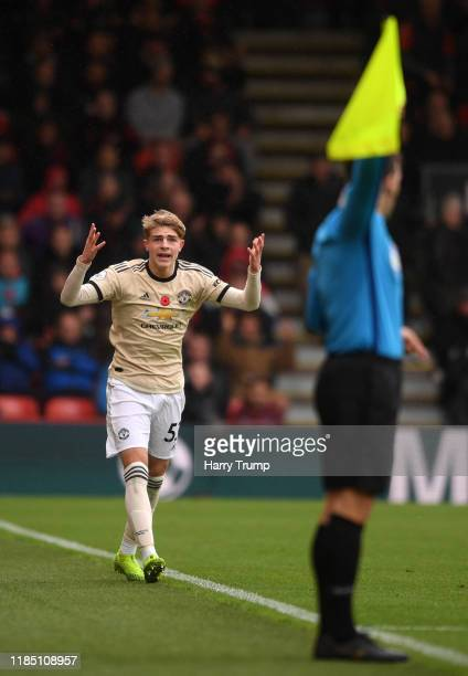 Brandon Williams of Manchester United reacts towards the linesman during the Premier League match between AFC Bournemouth and Manchester United at...
