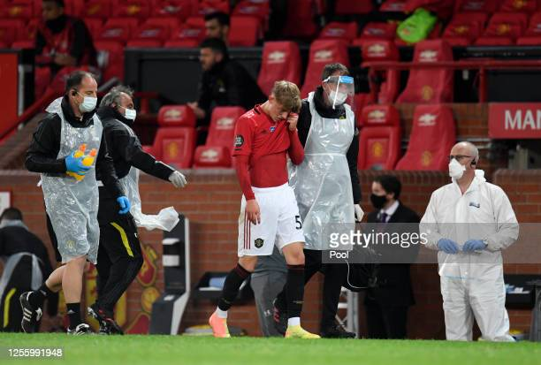 Brandon Williams of Manchester United receives medical treatment during the Premier League match between Manchester United and Southampton FC at Old...