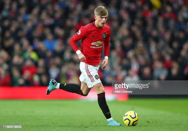 Brandon Williams of Manchester United runs with the ball during the Premier League match between Manchester United and Norwich City at Old Trafford...