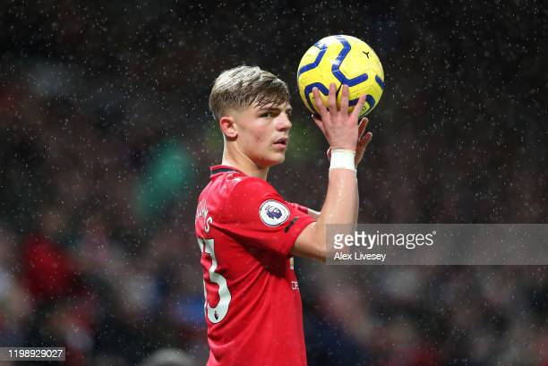 Brandon Williams of Manchester United takes a throw in during the Premier League match between Manchester United and Norwich City at Old Trafford on...