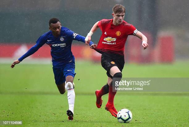 Brandon Williams of Manchester United U18s in action during the Under18 Premier League Cup match between Manchester United U18s and Chelsea U18s at...