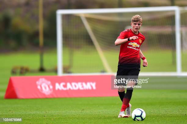 Brandon Williams of Manchester United U18s in action during the U18 Premier League North match between Manchester United U18s and Blackburn Rovers...
