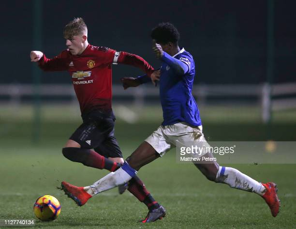 Brandon Williams of Manchester United U18s in action during the U18 Premier League North match between Everton U18s and Manchester United U18s at USM...