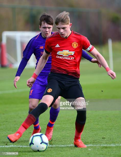 Brandon Williams of Manchester United U18s in action during the U18 Premier League North match between Manchester United U18s and Liverpool U18s at...