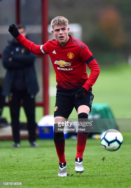 Brandon Williams of Manchester United U18s in action during the U19 Premier League North match between Manchester United U18s and Wolverhampton...