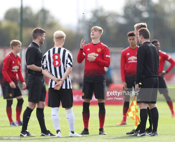 Brandon Williams of Manchester United U18s performs the toss during the U18 Premier League North match between Manchester United U18s and Newcastle...