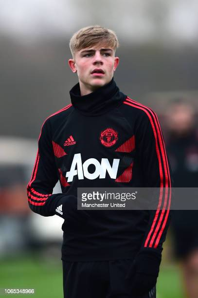 Brandon Williams of Manchester United U18s warms up ahead of the U18 Premier League North match between Manchester United U18s and Manchester City...