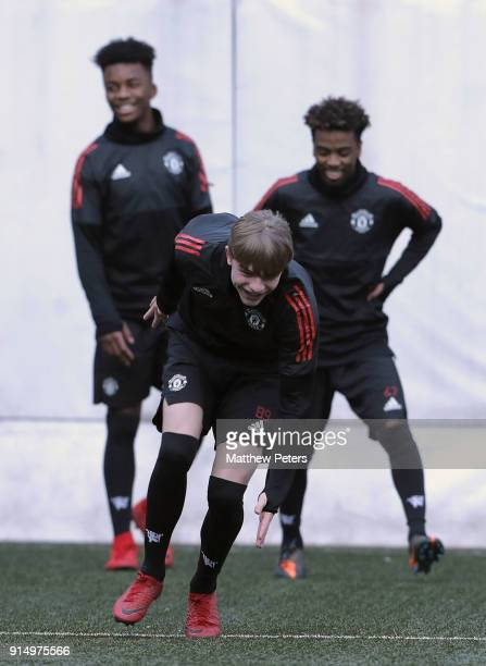 Brandon Williams of Manchester United U19s in action during a training session at Vozdovac Stadium on February 6 2018 in Belgrade Serbia