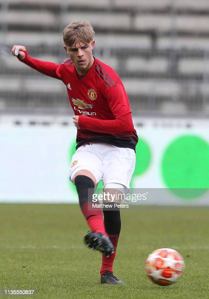Brandon Williams of Manchester United U19s in action during the UEFA Youth League match between Midtjylland U19s and Manchester United U19s at...