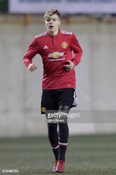 Brandon Williams of Manchester United U19s in action during the UEFA Youth League match between FK Brodarac U19s and Manchester United U19s at...