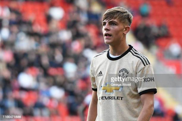 Brandon Williams of Manchester United U21 during the EFL Trophy match between Rotherham United and Manchester United U21 at AESSEAL New York Stadium...