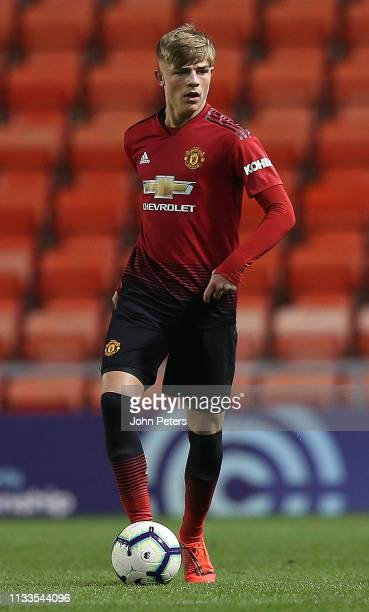 Brandon Williams of Manchester United U23s in action during the Premier League 2 match between Manchester United U23s and Norwich City U23s at Leigh...