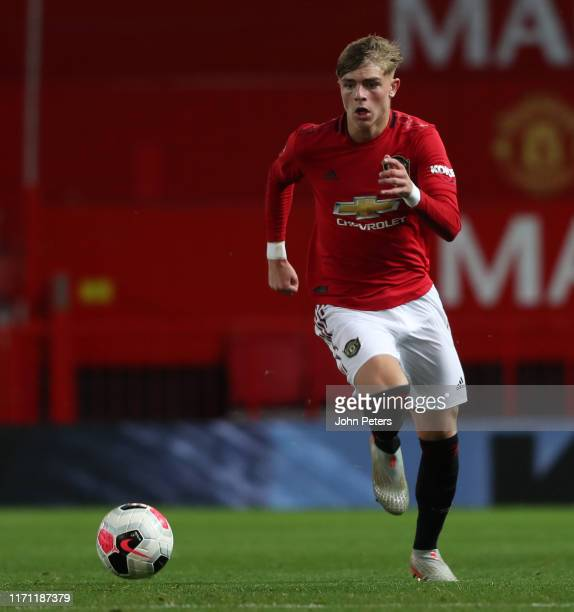 Brandon Williams of Manchester United U23s in action during the Premier League 2 match between Manchester United U23s and West Ham United U23s at Old...