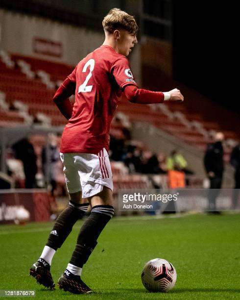 Brandon Williams of Manchester United U23s in action during the Premier League 2 match between Manchester United U23s and Everton U23s at Leigh...