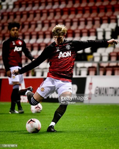 Brandon Williams of Manchester United U23s warms up ahead of the Premier League 2 match between Manchester United U23s and Everton U23s at Leigh...