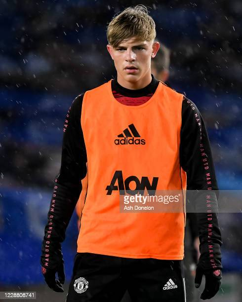 Brandon Williams of Manchester United warms up prior to the Carabao Cup fourth round match between Brighton and Hove Albion and Manchester United at...