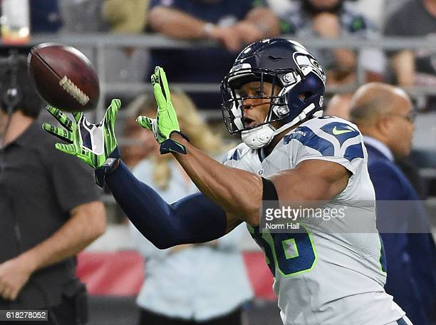 Brandon Williams of Seattle Seahawks catches a pass during warm ups prior to a game against the Arizona Cardinals at University of Phoenix Stadium on...