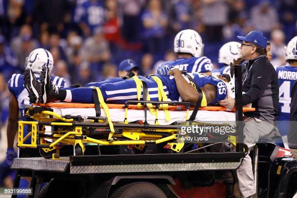Brandon Williams of the Indianapolis Colts is carted off the field after being injured against the Denver Broncos during the first half at Lucas Oil...
