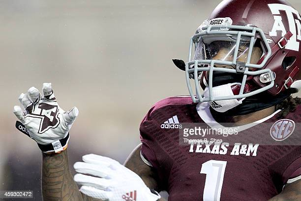 Brandon Williams of the Texas AM Aggies warms up before the Texas AM Aggies played the Missouri Tigers in a NCAA football game on November 15 2014 at...
