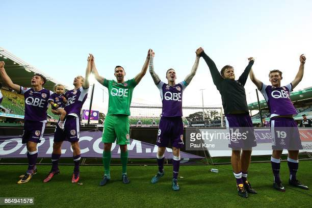 Brandon Wilson Joseph Mills Liam Reddy Andy Keogh Chris Harold and Joseph Knowles of the Glory acknowledge the shed end of supporters after winning...