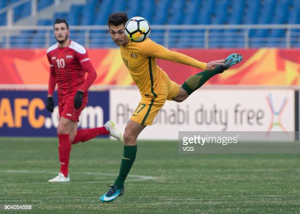Brandon Wilson of Australia drives the ball during the AFC U23 Championship Group D match between Australia and Syria at Kunshan Sports Center on...
