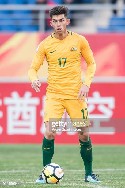Brandon Wilson of Australia in action during the AFC U23 Championship China 2018 Group D match between Australia and Syria at Kunshan Sports Center...