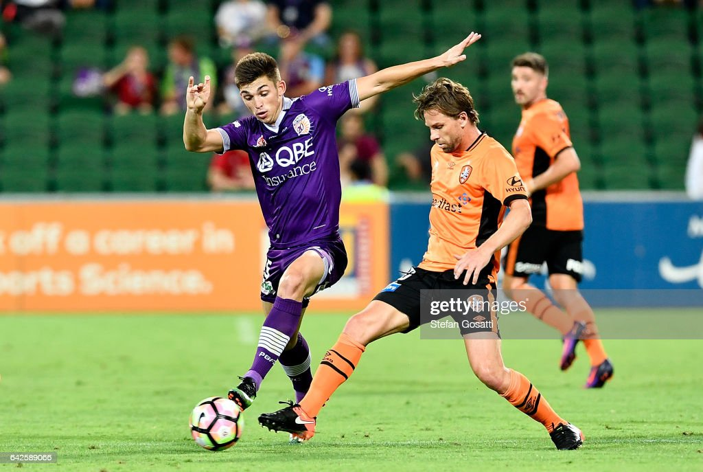 Brandon Wilson of the Glory and Brett Holman of the Roar contest the ball during the round 20 A-League match between Perth Glory and Brisbane Roar at nib Stadium on February 18, 2017 in Perth, Australia.