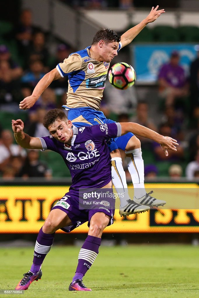 Brandon Wilson of the Glory and Wayne Brown of the Jets contest for the ball during the round 18 A-League match between the Perth Glory and the Newcastle Jets at nib Stadium on February 4, 2017 in Perth, Australia.