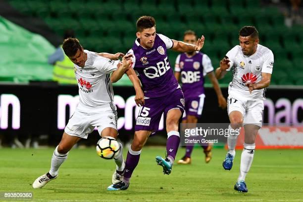 Brandon Wilson of the Glory contests the ball during the round 11 ALeague match between the Perth Glory and the Wellington Phoenix at nib Stadium on...