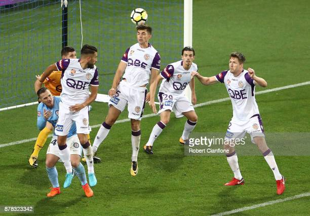 Brandon Wilson of the Glory heads the ball during the round eight ALeague match between Melbourne City and Perth Glory at AAMI Park on November 24...