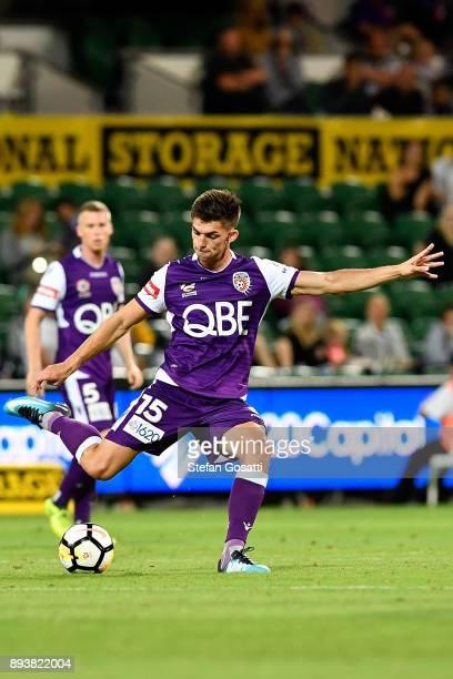 Brandon Wilson of the Glory kicks during the round 11 ALeague match between the Perth Glory and the Wellington Phoenix at nib Stadium on December 16...