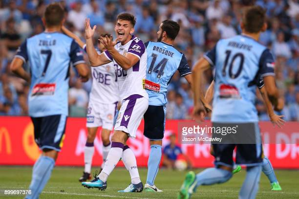 Brandon Wilson of the Glory reacts during the round 13 ALeague match between Sydney FC and Perth Glory at Allianz Stadium on December 30 2017 in...