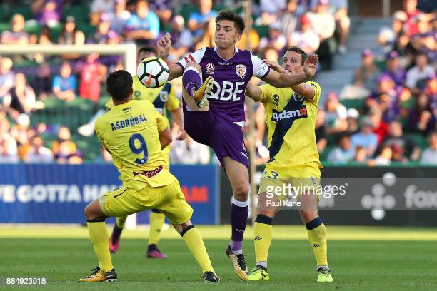 Brandon Wilson of the Glory traps the ball during the round three ALeague match between Perth Glory and the Central Coast Mariners at nib Stadium on...
