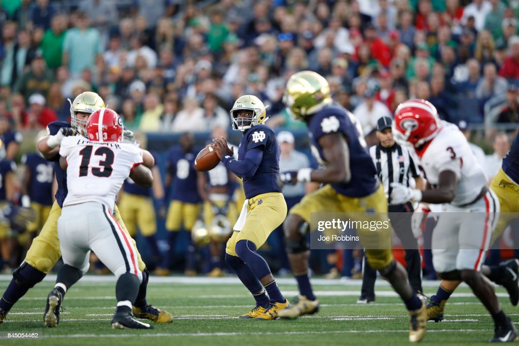 Brandon Wimbush #7 of the Notre Dame Fighting Irish looks to pass against the Georgia Bulldogs in the first quarter of a game at Notre Dame Stadium on September 9, 2017 in South Bend, Indiana.