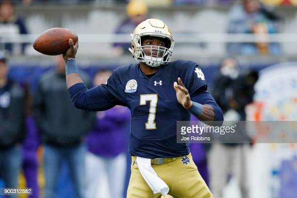 Brandon Wimbush of the Notre Dame Fighting Irish looks to pass against the LSU Tigers in the first half of the Citrus Bowl on January 1 2018 in...