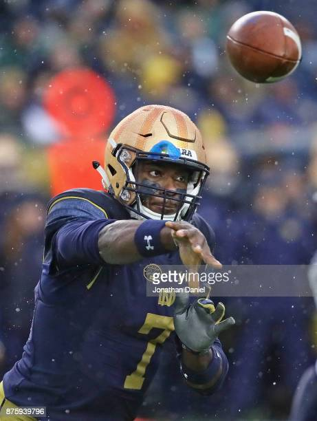 Brandon Wimbush of the Notre Dame Fighting Irish passes against the Navy Midshipmen at Notre Dame Stadium on November 18 2017 in South Bend Indiana