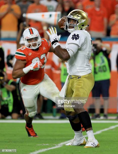 Brandon Wimbush of the Notre Dame Fighting Irish passes during a game against the Miami Hurricanes at Hard Rock Stadium on November 11 2017 in Miami...