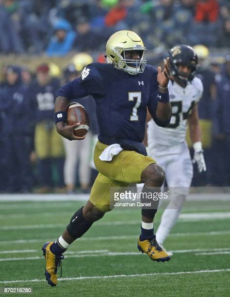 Brandon Wimbush of the Notre Dame Fighting Irish runs 50 yards for a touchdown against the Wake Forest Demon Deacons at Notre Dame Stadium on...