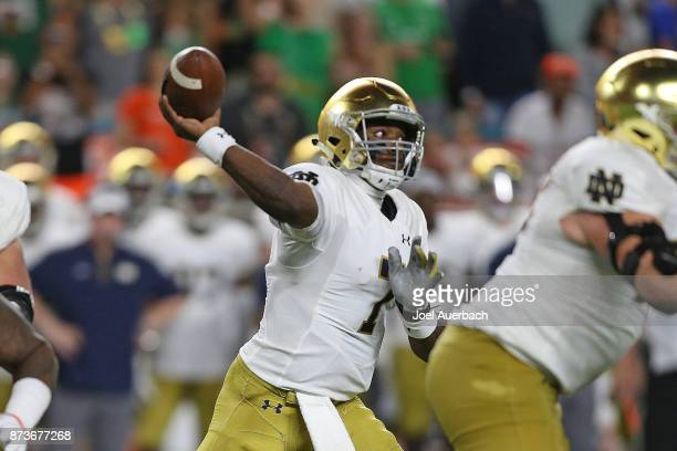 Brandon Wimbush of the Notre Dame Fighting Irish throws the ball against the Miami Hurricanes on November 11 2017 at Hard Rock Stadium in Miami...