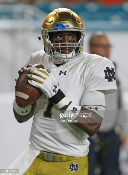 Brandon Wimbush of the Notre Dame Fighting Irish throws the ball prior to the game against the Miami Hurricanes on November 11 2017 at Hard Rock...