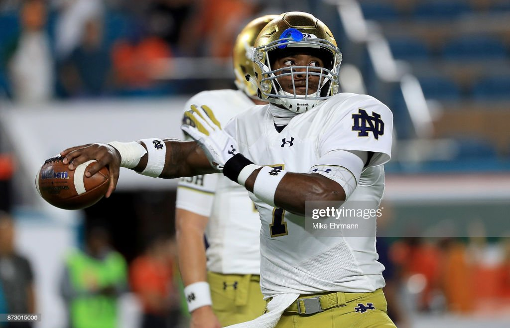 Brandon Wimbush #7 of the Notre Dame Fighting Irish warms up during a game against the Miami Hurricanes at Hard Rock Stadium on November 11, 2017 in Miami Gardens, Florida.