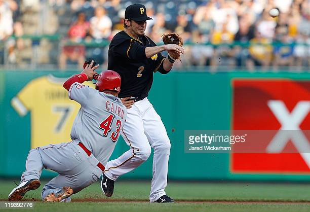Brandon Wood of the Pittsburgh Pirates attempts to turn the double play over Miguel Cairo of the Cincinnati Reds during the game on July 19 2011 at...