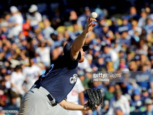 Brandon Woodruff of the Milwaukee Brewers pitches during Game 5 of the NLCS against the Los Angeles Dodgers at Dodger Stadium on Wednesday October 17...