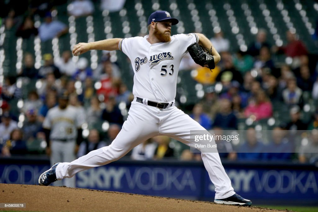 Brandon Woodruff #53 of the Milwaukee Brewers pitches in the third inning against the Pittsburgh Pirates at Miller Park on September 11, 2017 in Milwaukee, Wisconsin.