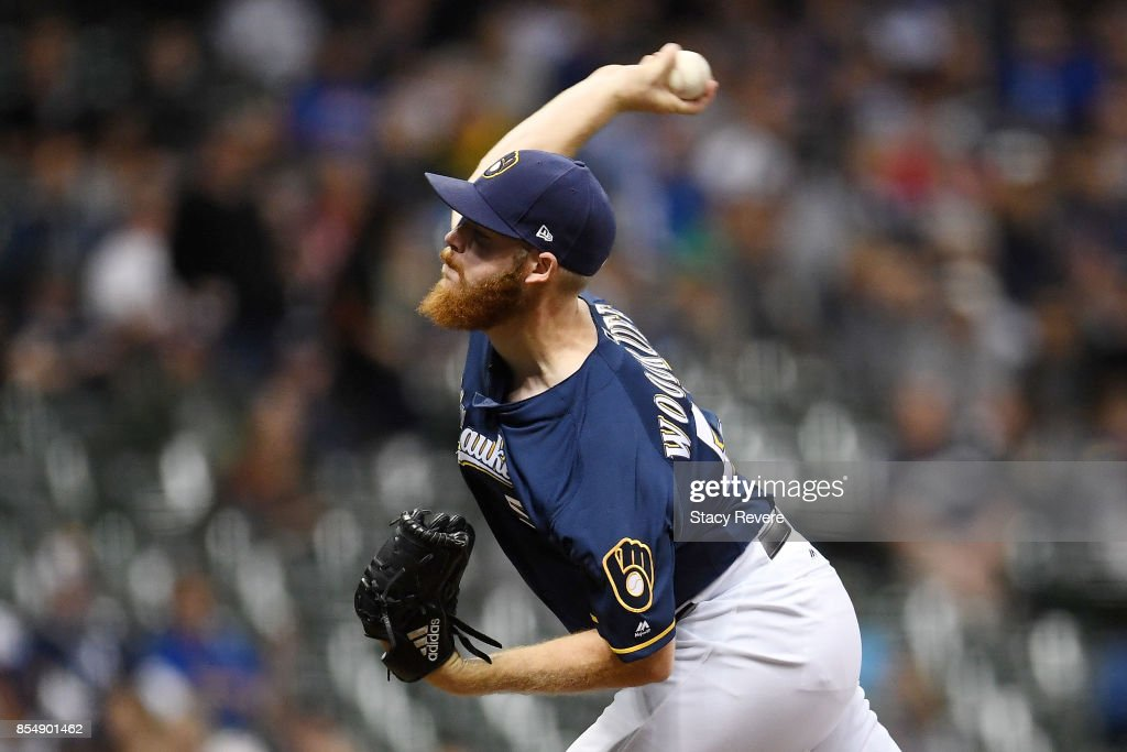Brandon Woodruff #53 of the Milwaukee Brewers throws a pitch during the first inning of a game against the Cincinnati Reds at Miller Park on September 27, 2017 in Milwaukee, Wisconsin.