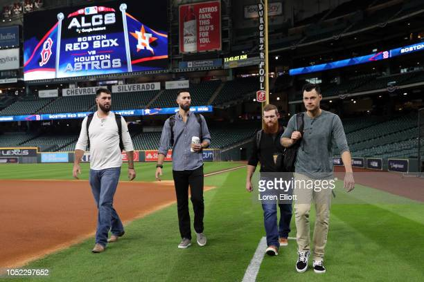 Brandon Workman Rick Porcello Craig Kimbrel and Joe Kelly of the Boston Red Sox arrive at Minute Maid Park prior to Game 3 of the ALCS against the...