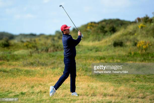 Brandon Wu of the United States hits an approach shot on the 1st hole during a practice round at Royal Birkdale Golf Club prior to the 2019 Walker...