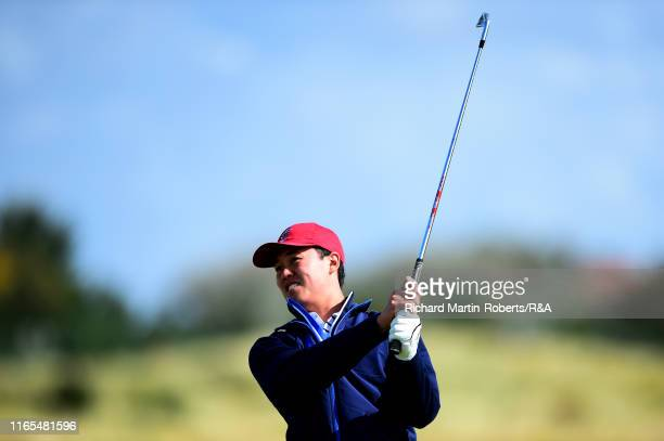 Brandon Wu of the United States hits an approach shot on the 2nd hole during a practice round at Royal Birkdale Golf Club prior to the 2019 Walker...